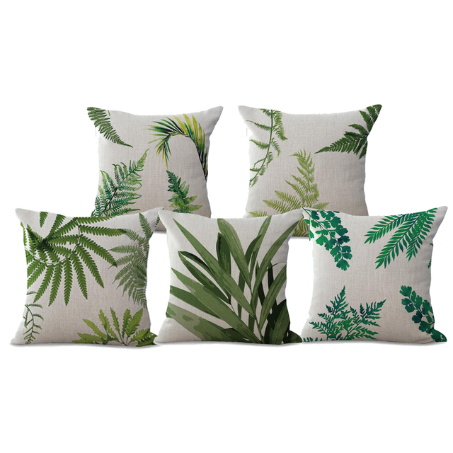 Manufacturers Selling Green Plants Leaves Printing Cotton Linen Cool Decorative Pillow Manufacturers