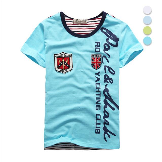 Nueva llegada del verano muchachos de los niños de moda de manga corta camisetas niños niños camisetas ajuste para 7-14 años de edad los niños usan,