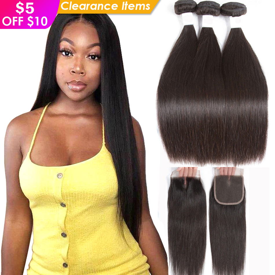 Straight Human Hair 3 Bundles With Closure Tuneful 100% Remy Hair Weft Weave Extensions Brazilian Hair Bundles With Closure