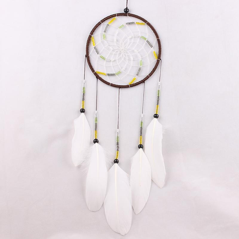 MS6900 White Feather Windmill Dreamcatcher Chinese Style Big Circle Dream Catcher House Hanging Decor Ornament