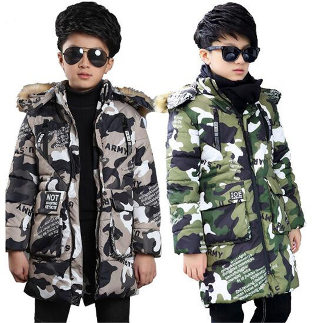 de82ae1dc57 Boys Winter Fur Camouflage Jacket Kids Thick Hooded Cotton-padded Clothes  Children Warm Military Outerwear