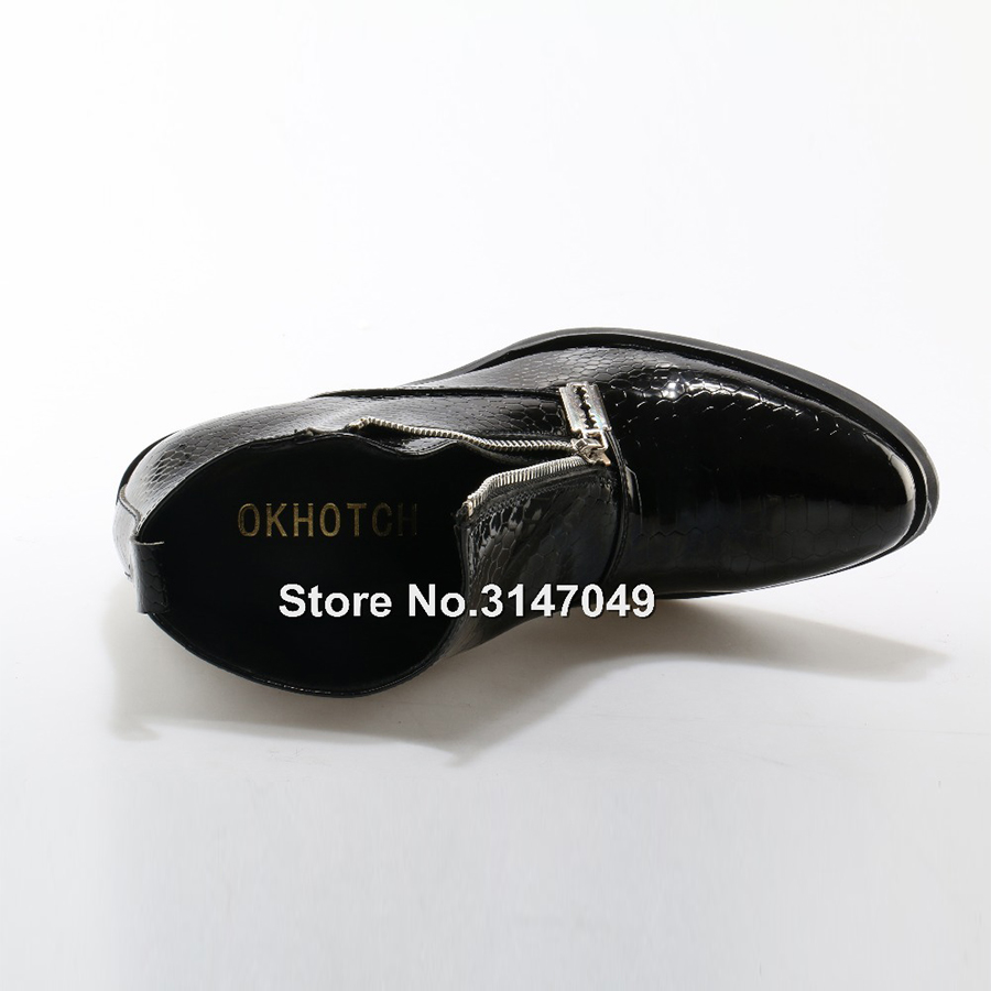Padrão Luxo Britânico Genuíno De Moto Cobra Preto Boots Ankle Estilo Casual Botas Side Couro Dos Zip Moda Homens 2019 z8wnZqnp