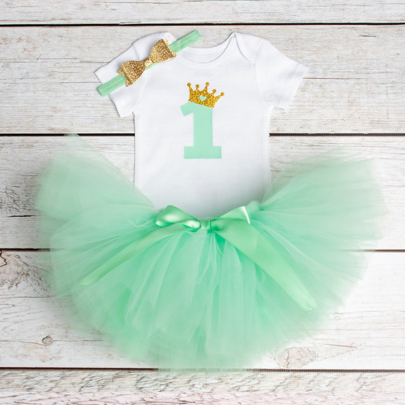 12 Months My Little Baby Girl 1st Birthday Dresses For Girls Infant Party Outfits First Birthday Suits (Rompers+Tutu+Headband)
