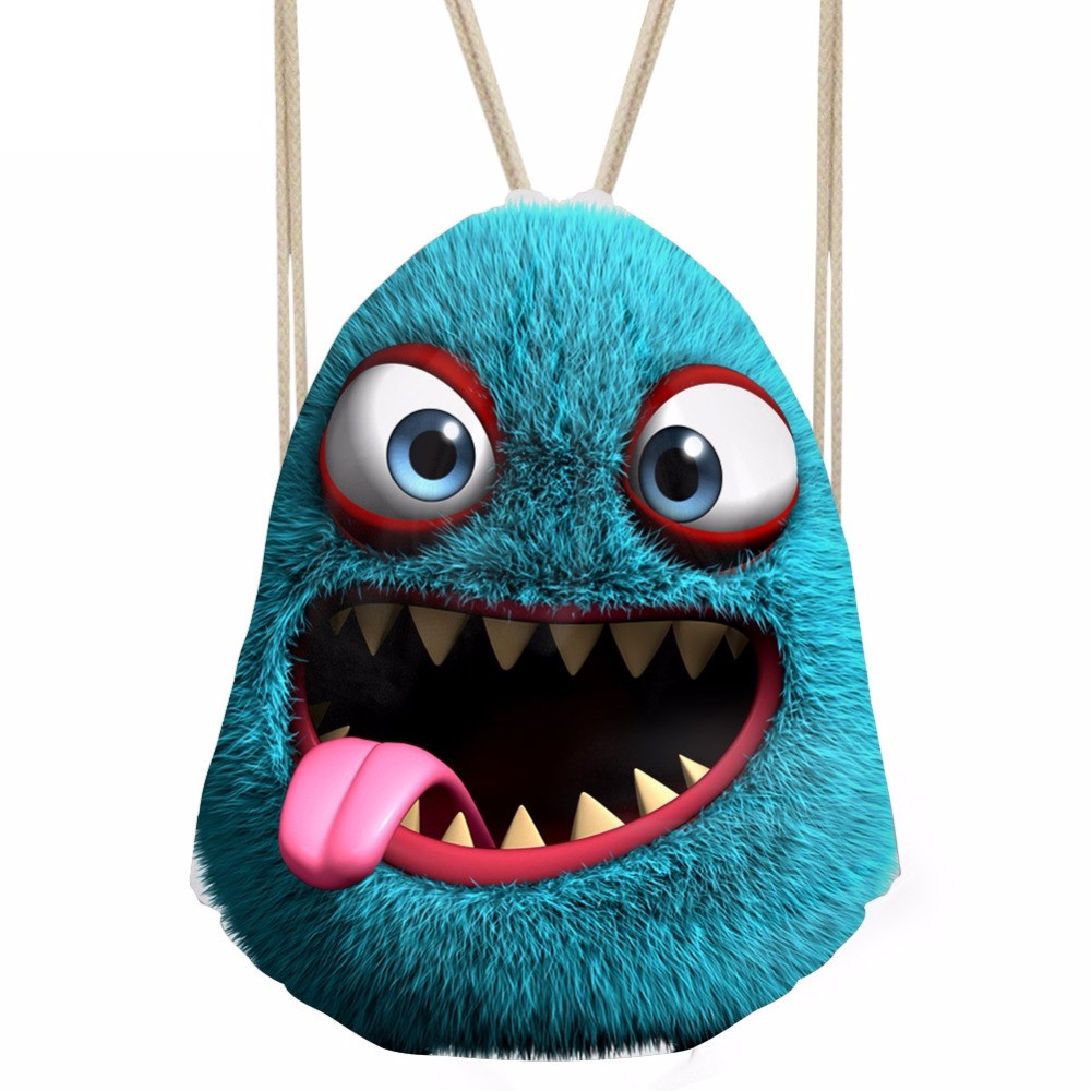 Funny 3D Smiley Monster Print Girls Drawstring Bag Fashion Women Backpack Storage Bunch Pocket Shopping Shoulder BagSumka