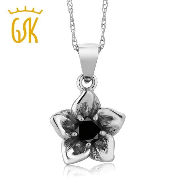 GemStoneKing Ronda 0.17 Ct Diamond 18 K Oro Blanco Natural Negro Flor Colgante Collar de Moda de Lujo Las Mujeres de Compromiso Joyería