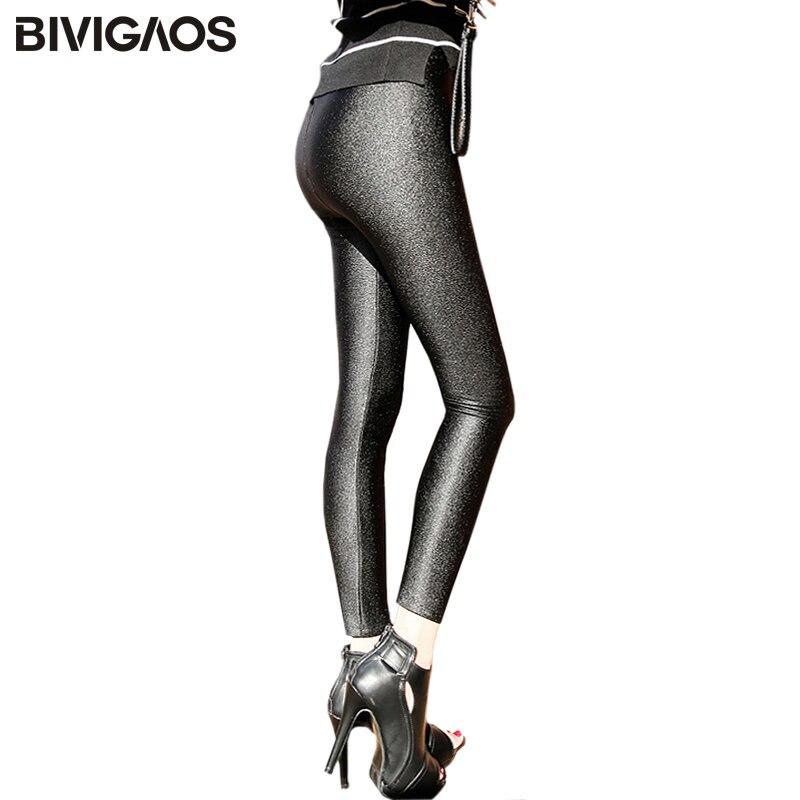 BIVIGAOS Winter Warm Leggings Womens Gloss Shiny Black Thick Velvet Leggings Trousers Elastic Slim Legging Pants Women Plus Size