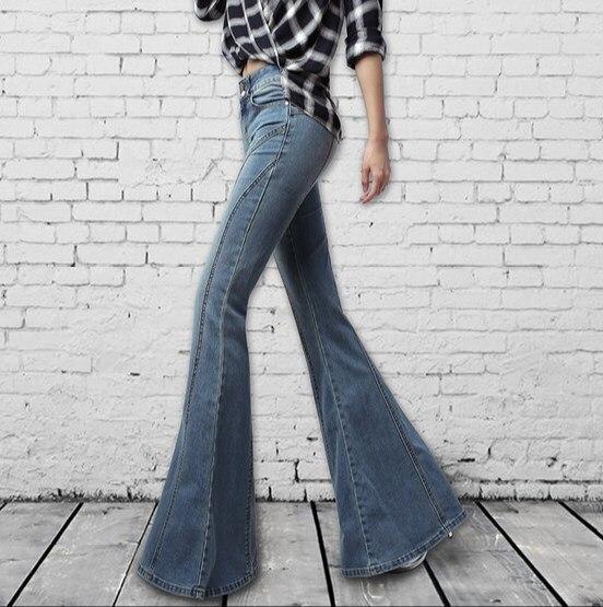 Pantalones Señoras Cintura Jeans Botón Largo Bottom Girl Azul Con Pierna Ancha Las De Bell Fly Bootcut Vintage Vaqueros Grande Mujeres Llamarada Alta nxq8OzZ6