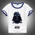 2016 Star Wars Camisetas crianças manga curta branco tops com gola cor cuff meninos e meninas roupas de verão