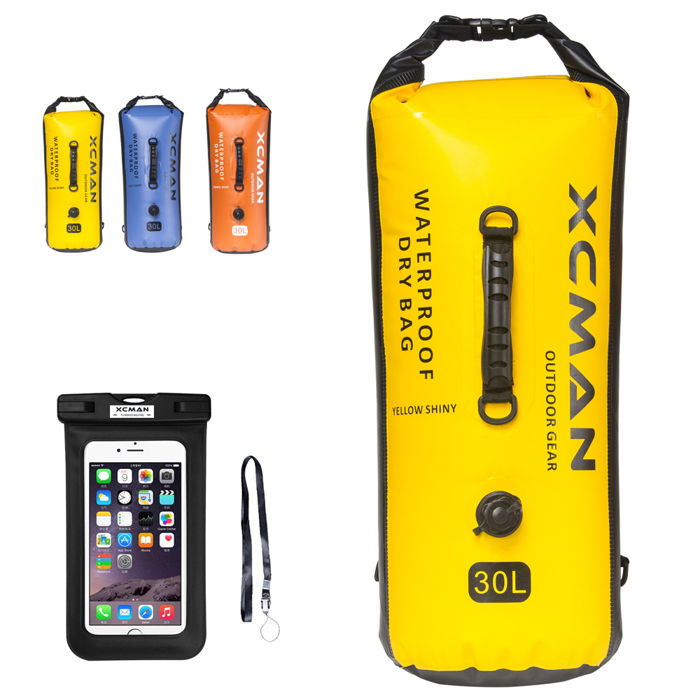 XCMAN Waterproof Sack Dry Bag BONUS For Boating, Camping,Kayaking - Dry Sack Waterproof 30L - With Air Valve And Double Straps