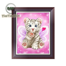 FineTime 5D DIY Diamond Embroidery Cute Tiger Partial Drill Animals Diamond Painting Cross-stitch Mosaic Painting finetime white tiger 5d diy diamond painting partial drill diamond embroidery cross stitch animal mosaic painting