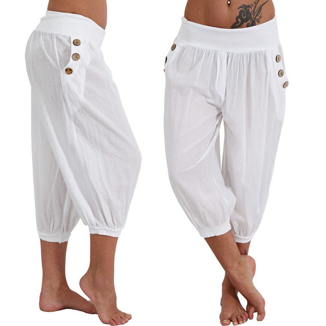 4f15130476c7 Plus Size 5XL 2018 Women Summer Solid Harem Pants Loose Knee Length Trousers  Female Elastic Waist Capris Pants