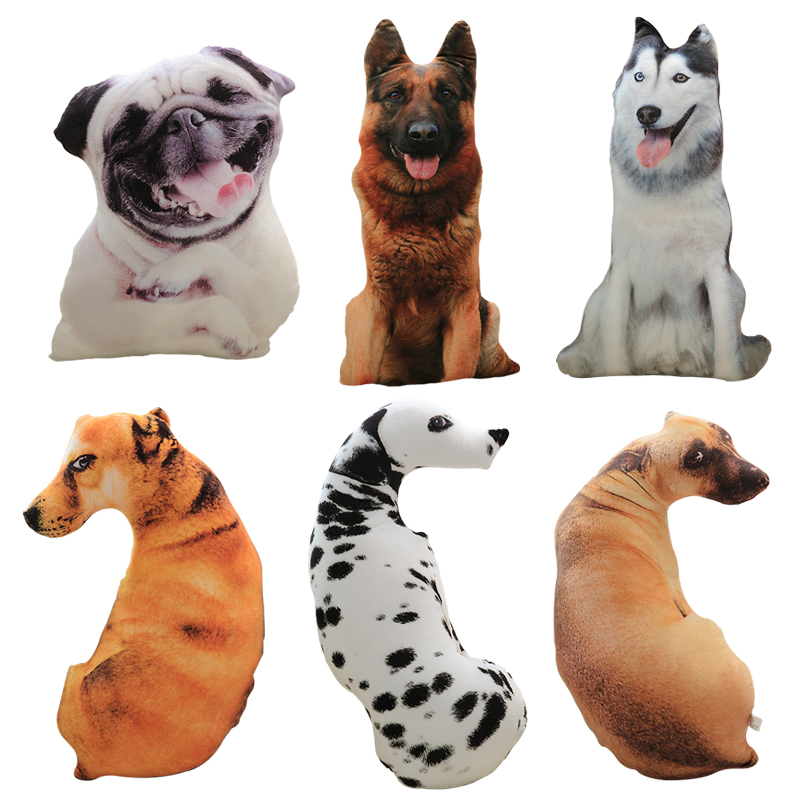 50cm Cute Simulation Dog Plush Toy 3D Printing Stuffed Animal Dog Plush Pillow Stuffed Cartoon Cushion Kids Doll Home Decro Gift