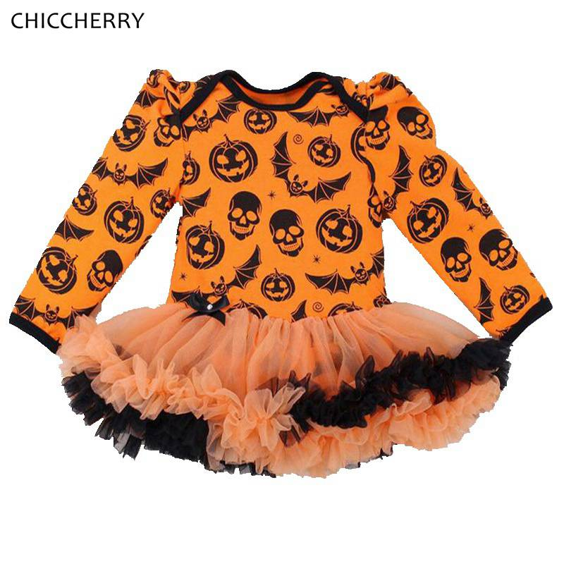 Baby Halloween Costumes | Skull Pumpkin Orange Baby Halloween Costumes Long Sleeve Baby Girl Romper Dress Lace Tutu Jumpsuit Macacao Bebe Newborn Clothing