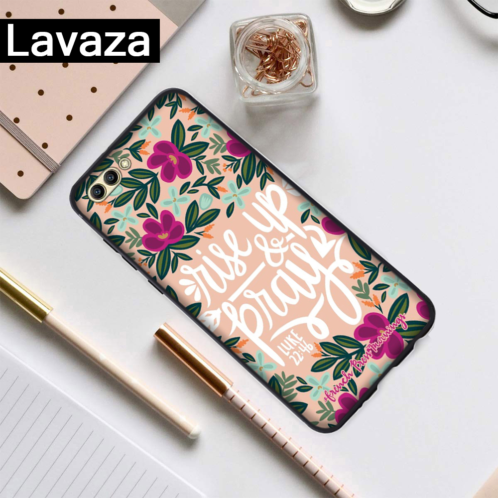 Lavaza Bible verse Christ Christian Flower Silicone Case for Huawei Honor 6A 7A 3GB Pro 7X 8 Lite 8X 8C 9 Note 10View 20 9X in Half wrapped Cases from Cellphones Telecommunications