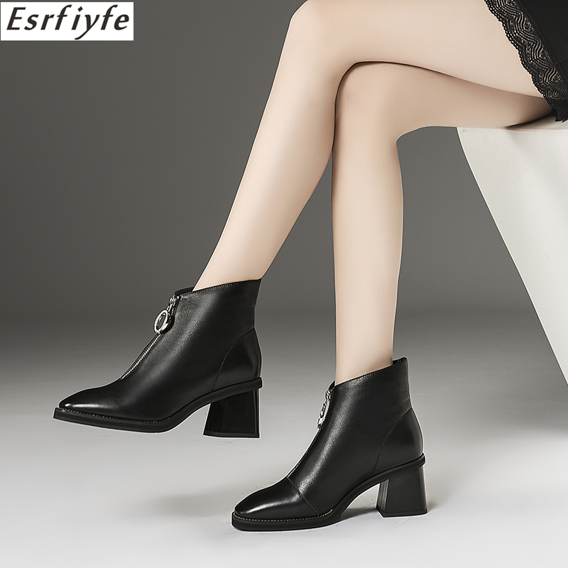 ESRFIYFE 2018 New Genuine Leather Women Ankle Boots Autumn Winter Thick Heels Pointed Toe Shoes Woman Short Plush Boots Women printing new boots 2015 autumn winter genuine leather mixed colors thick with pointed toe woman boots stylish comfortable shoes
