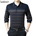 2017 New High-grade Business Casual Men Tshirt Fashion Stripe Loose Long Sleeve T Shirt Mens Clothing Turn-down Collar T-Shirt