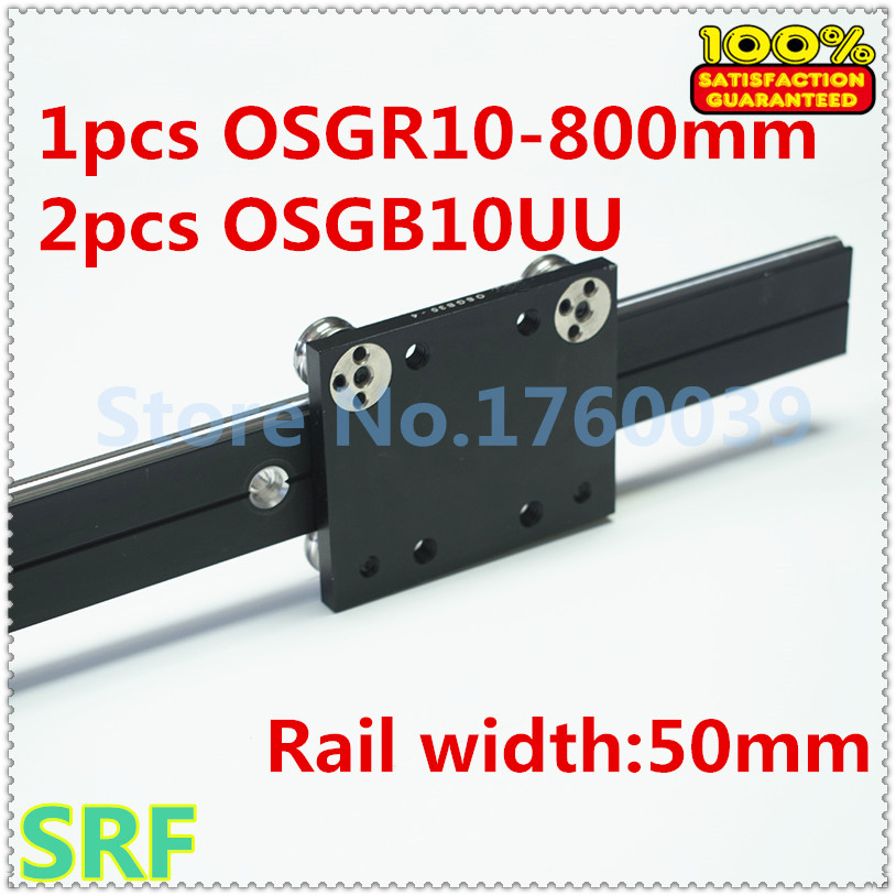 50mm width Aluminum roller linear guide rail external dual axis linear guide 1pcs OSGR10 L=800mm+2pcs OSGB10 block набор посуды shantou gepai с плитой и аксессуарами со звуком и светом 5810d