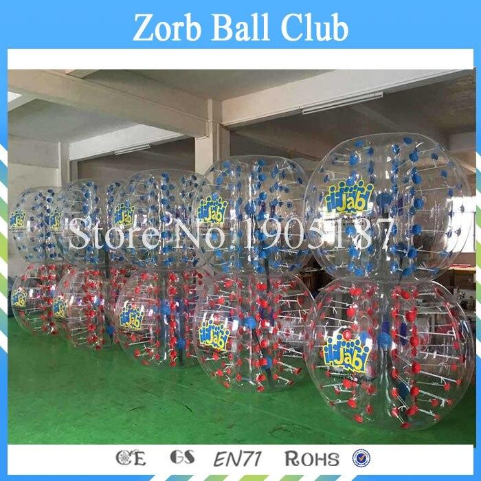 Livraison gratuite 1.5 m Dia 26 pièces (13 rouge + 13 bleu + 2 pompes) 1.0mm TPU boules à bulles humaines, boule Zorb, boules pare-chocs en vente
