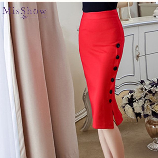 5920f287aa Plus Size Fashion Women Work Midi Skirt Sexy Open Slit Button Slim Pencil  Skirt Elegant Office Ladies Skirts Red Black