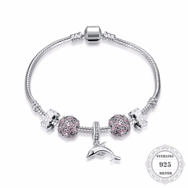 HEMISTON 100% 925 Sterling Silver Pink Flower Charm Bracelets with Dolphin for Women Fine Jewelry Original Gift PAB014