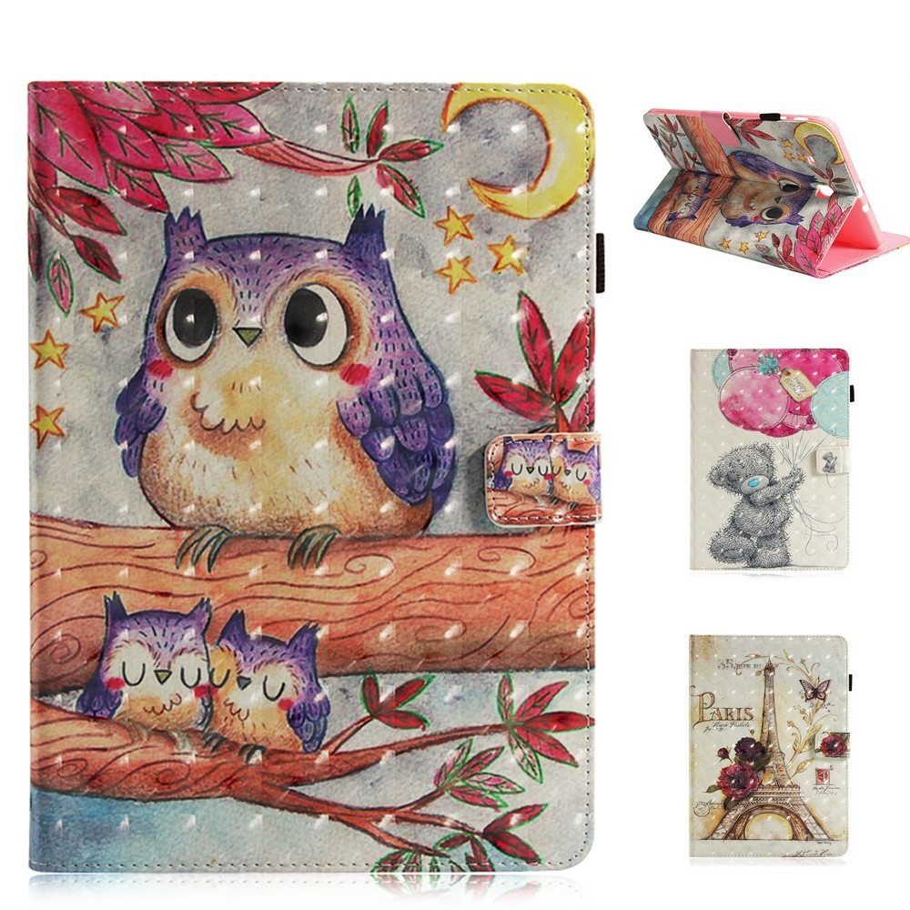 Purple owl Pattern Tablet Case for Samsung Galaxy Tab E 9.6 T560 T561 Smart Cover Cartoon PU Leather top quality smart pu leather cover for samsung galaxy tab e 9 6 t560 t561 tablet case tablet slim protective shell pen