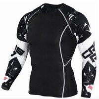 Для мужчин s сжатия рубашки 3D волчонок майки с длинным рукавом Футболка Фитнес Для мужчин лайкры ММА футболки для кроссфита колготки брендо...