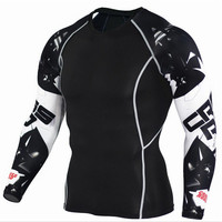 Mens Compression Shirt Captain America Batman Long Sleeve Lycra Crossfit T Shirt Men T Shirts Tights
