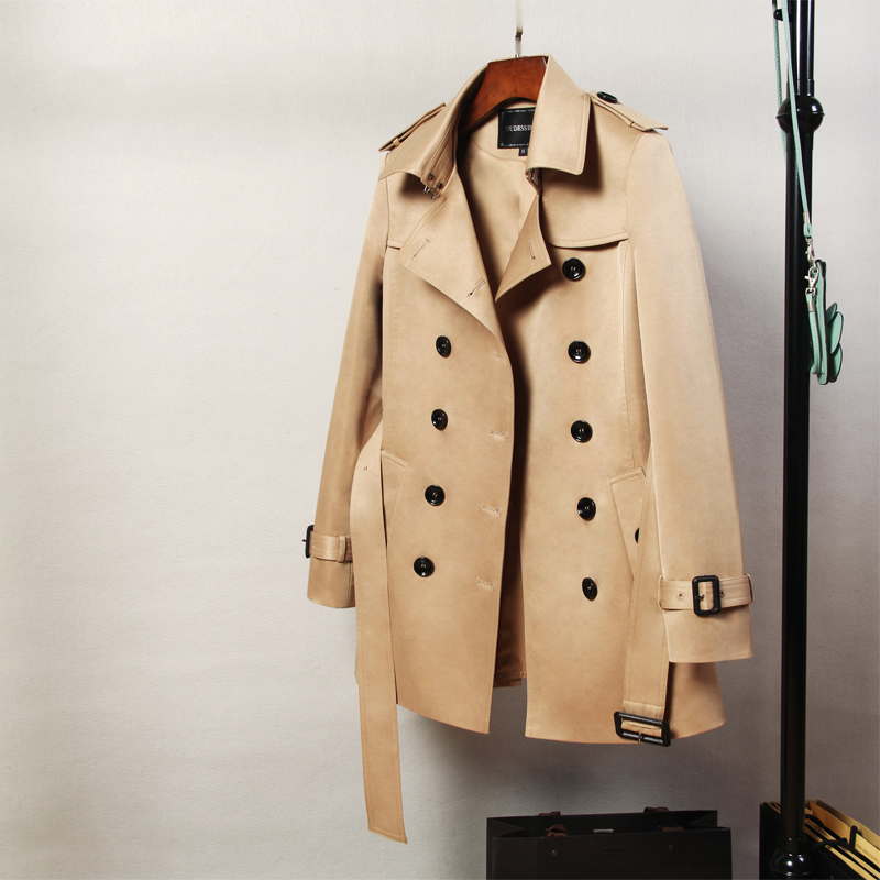England style slim trench coat women double breasted turn down collar outerwear new 2019 autumn winter