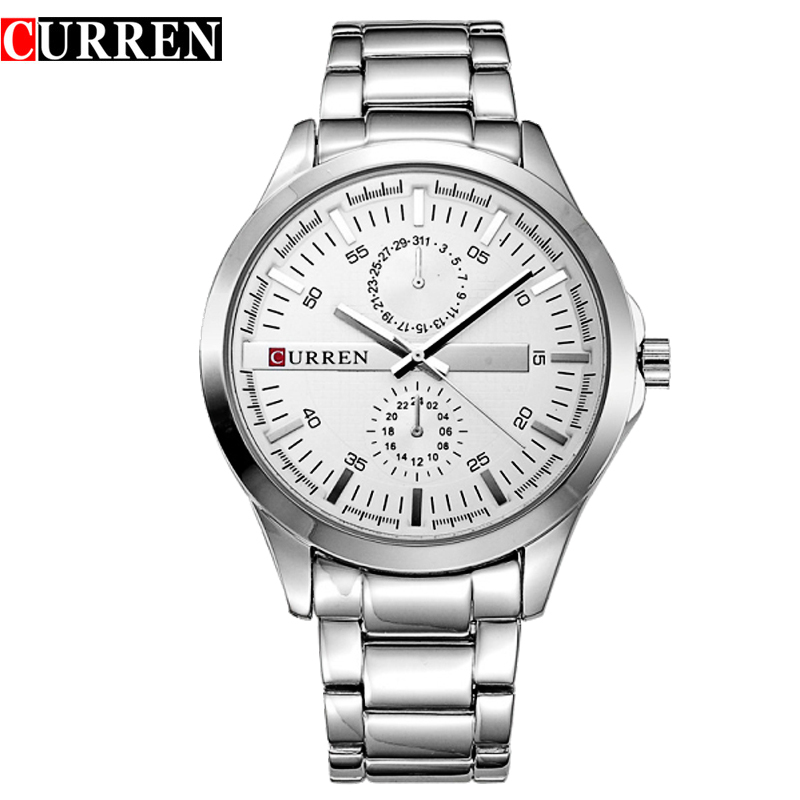 купить 2016 new curren watches men luxury brand military watch men full steel wristwatches fashion waterproof relogio masculino 8128 по цене 913.21 рублей