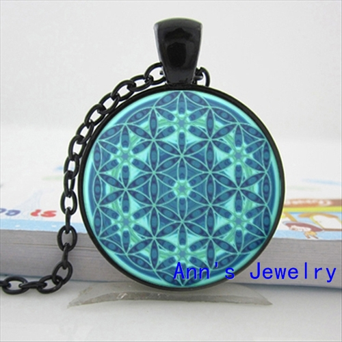 Wholesale Flower of Life Necklace Flower of Life Pendant Mandala Jewelry Glass Dome Pendant Necklace