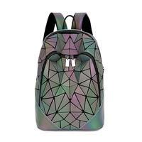 Zipper Women Backpack Geometric Sequin Bag Female Luminous Scool Backpacks For Teenage Girls Bagpack Holographic Women Backpacks
