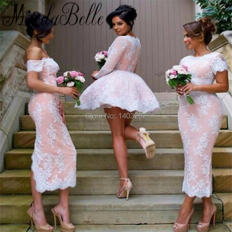 Awesome Style Lace Short Bridesmaid Dresses Long Sleeve Summer Wedding Guest Party Dress Vneck With