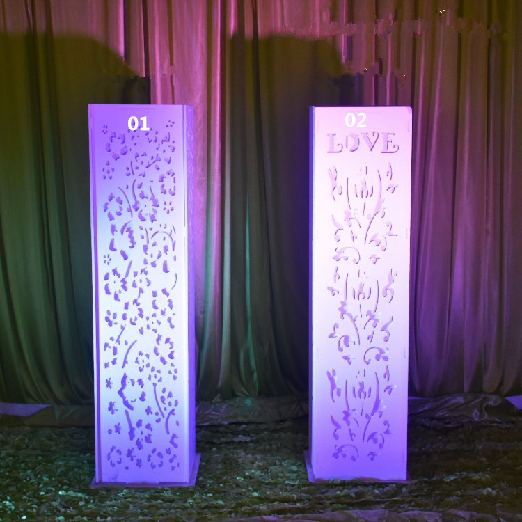 8pcs Wedding Props PVC Carved Roman Columns Luminous Pillar Banquet Road Lead Stand Decoration 120CM*28CM*28CM