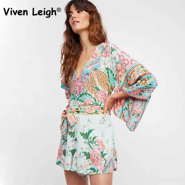 60a8b9b6d47 Viven Leigh 2018 Women Lotus Signature Floral Peacock Print Romper Boho  Hippie V Neck Kimono Sleeves Waist Tie Shorts Playsuits