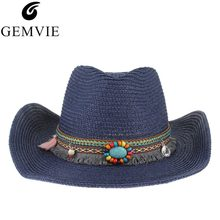 7eea3a527f Étnico hecho a mano de punto de paja Sombrero mujeres hombres sombreros de  verano Sombrero de vaquero occidental Jazz Iglesia Ca.