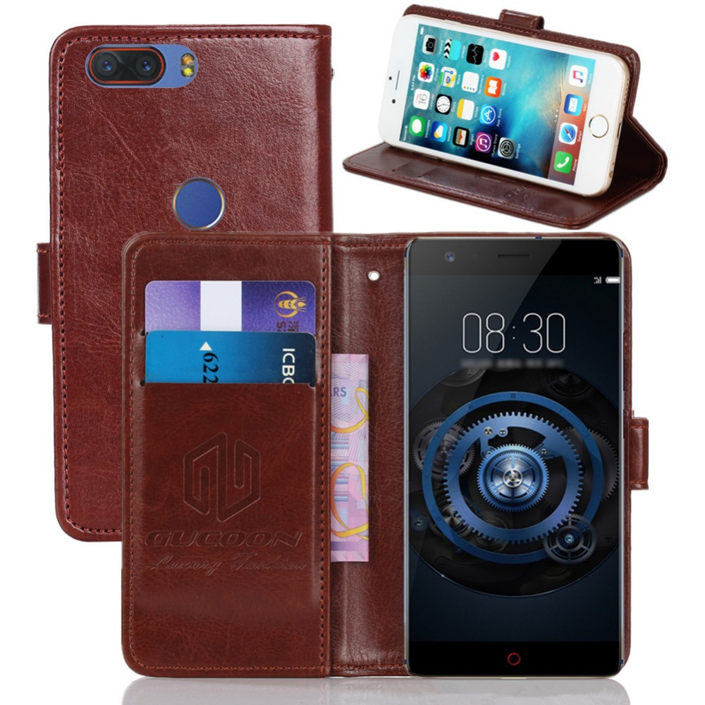 For Nubia Z17 Case Flip Genuine Leather Soft Silicon Back Cover Free Sg Retro Asus Zenfone 3 Ze552kl 55 Inch Gucoon Vintage Wallet Zte Lite 55inch Pu