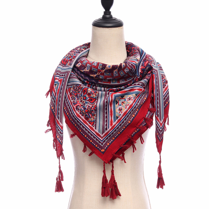 new style 2018 spring women scarf square lady cotton shawls and wraps print female pashmina 110*110cm