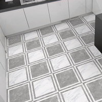 Grey white Marble Self adhesive PVC Wallpaper Bathroom Waterproof Anti slip Flooring Sticker Kitchen Ground Sticker Decoration