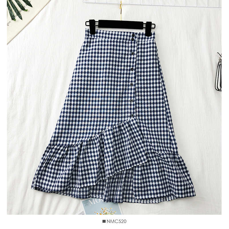 e0e12ce89 ... Women sweet ruffles plaid split skirts elastic waist buttons ladies  casual mid-calf skirts Vintage ...