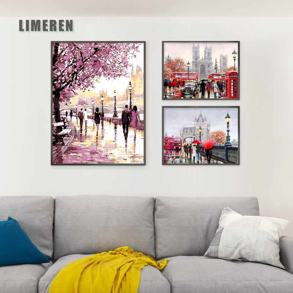 New UK London Street Landscape Painting By Numbers On Canvas DIY Handpainted Wall Pictures Coloring By Number Art For Home Decor