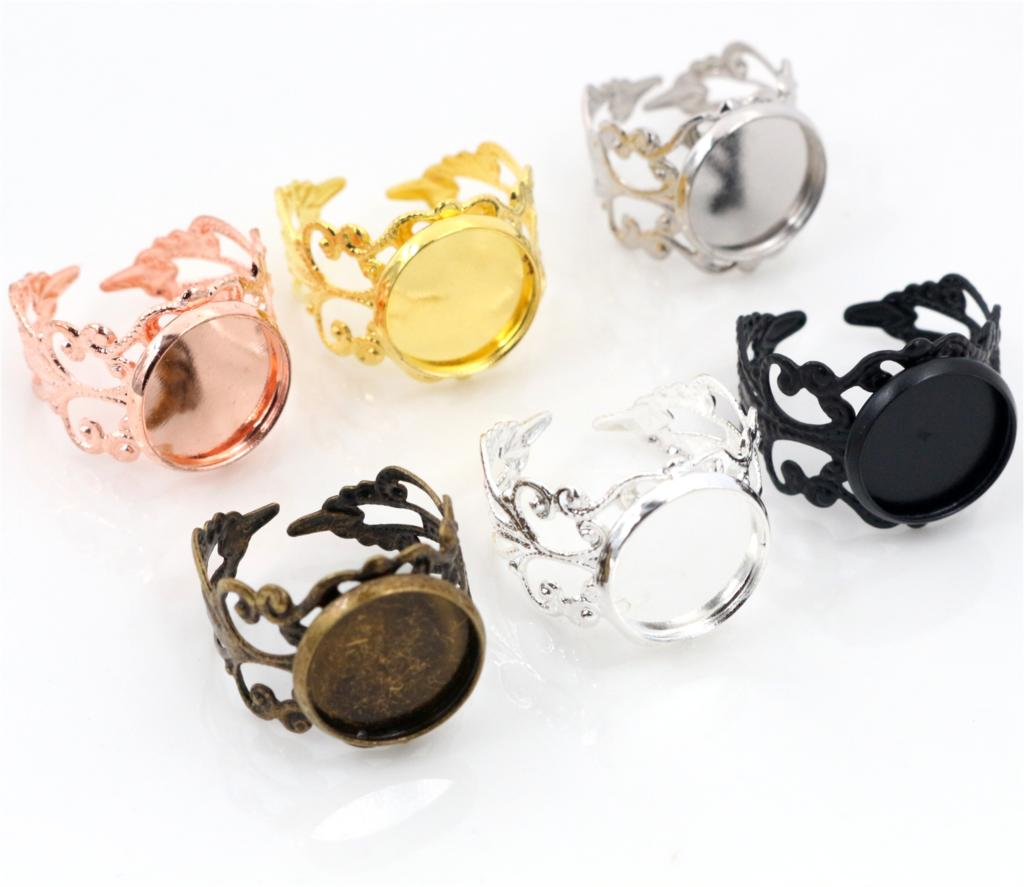 12mm 10pcs/Lot Classic 6 Colors Plated Copper Material Adjustable Ring Settings Base,Fit 12mm Glass Cabochons;Ring Bezels