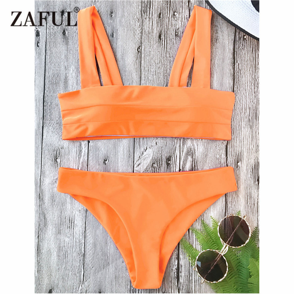 moda firmata 8ab04 e4162 US $16.49 35% OFF|ZAFUL Bikini New Wide Straps Padded Bandeau Bikini Set  Sexy Square Neck PulloverTop and Bottoms Brazilian Biquni Women Swimsuit-in  ...