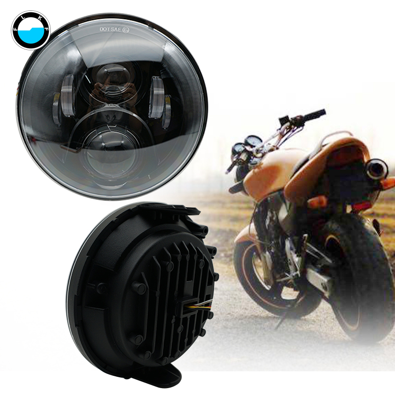 High Low beam motorcycle Headlight 7' 'inch round led light motorcycle 75W 7 inch headlamp for honda cb400 cb1300.