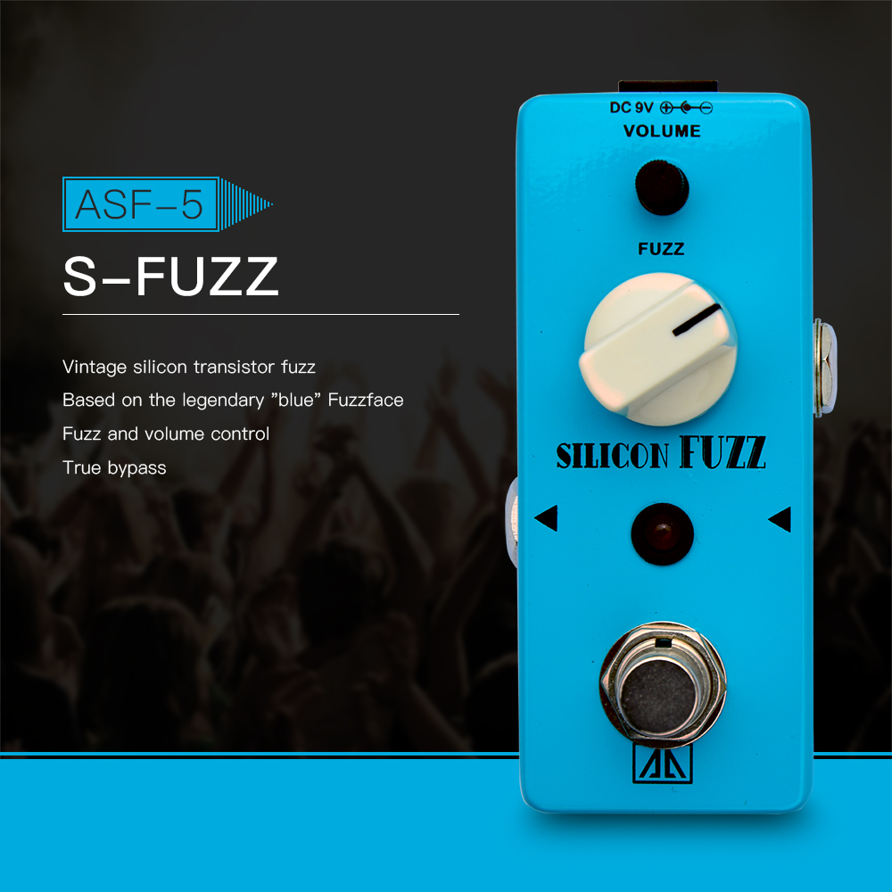 AROMA ASF-5 Classic Silicon Transistor Fuzz Guitar Effect Pedal Aluminum Alloy Body True Bypass, Base on Blue Fuzzface aroma adl 1 true bypass delay electric guitar effect pedal high quality aluminum alloy guitar accessories delay range 50 400ms