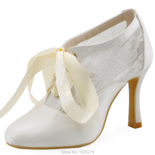 ElegantPark New Fashion HC1529 Ivory Women Close Toe High Heel Satin Lace Bridal  Wedding Boots d9c6cb077839