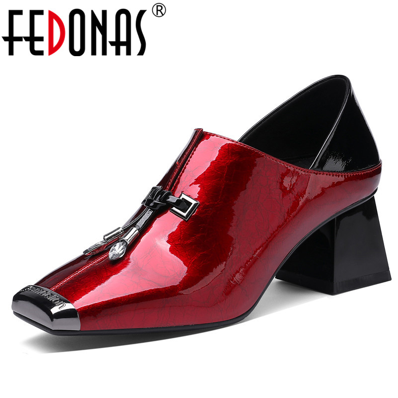 FEDONAS Blingbling Cow Patent Leather Women Pumps 2019 Spring Summer New Fashion Elegant Square Toe Hoof Heels Party Shoes
