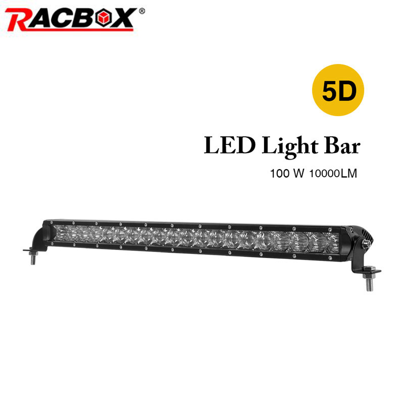 100W 22 inch 5D LED Work Light Bar Single One Row With LED Chips Combo Beam Straight Bar For Jeep Automobile SUV ATV MPV Offroad image