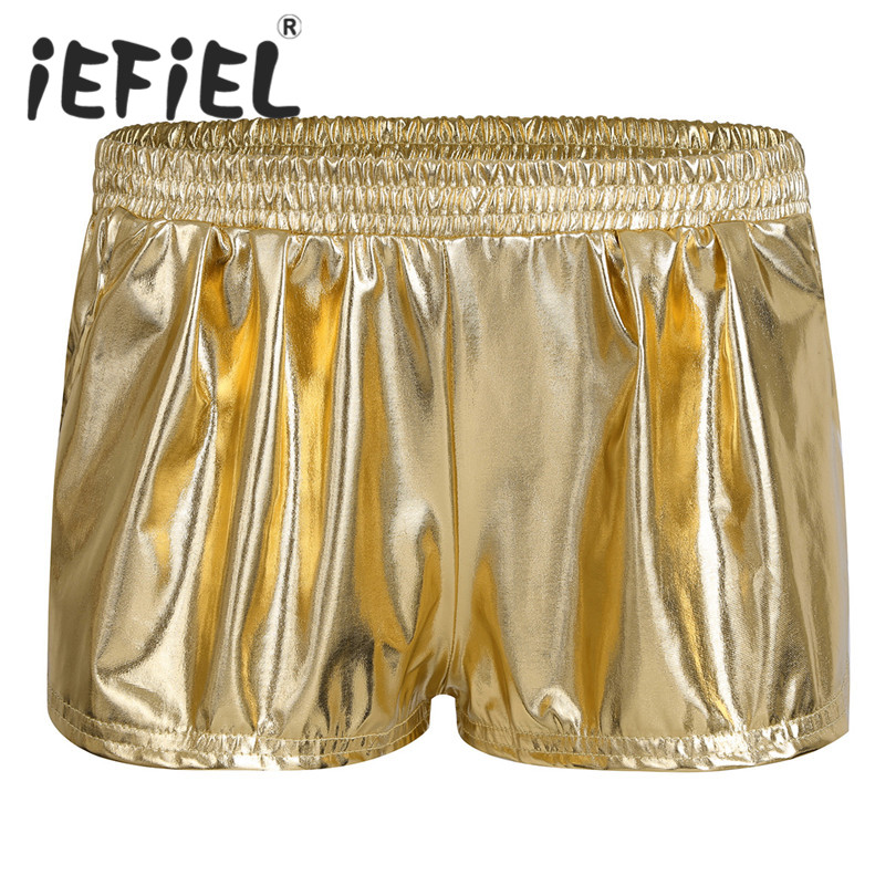 iEFiEL Fashion Women Female Patent Leather Boxer Shorts Shiny Metallic Slim Fit Short Pants Clubwear Nightwear Workout Clothes