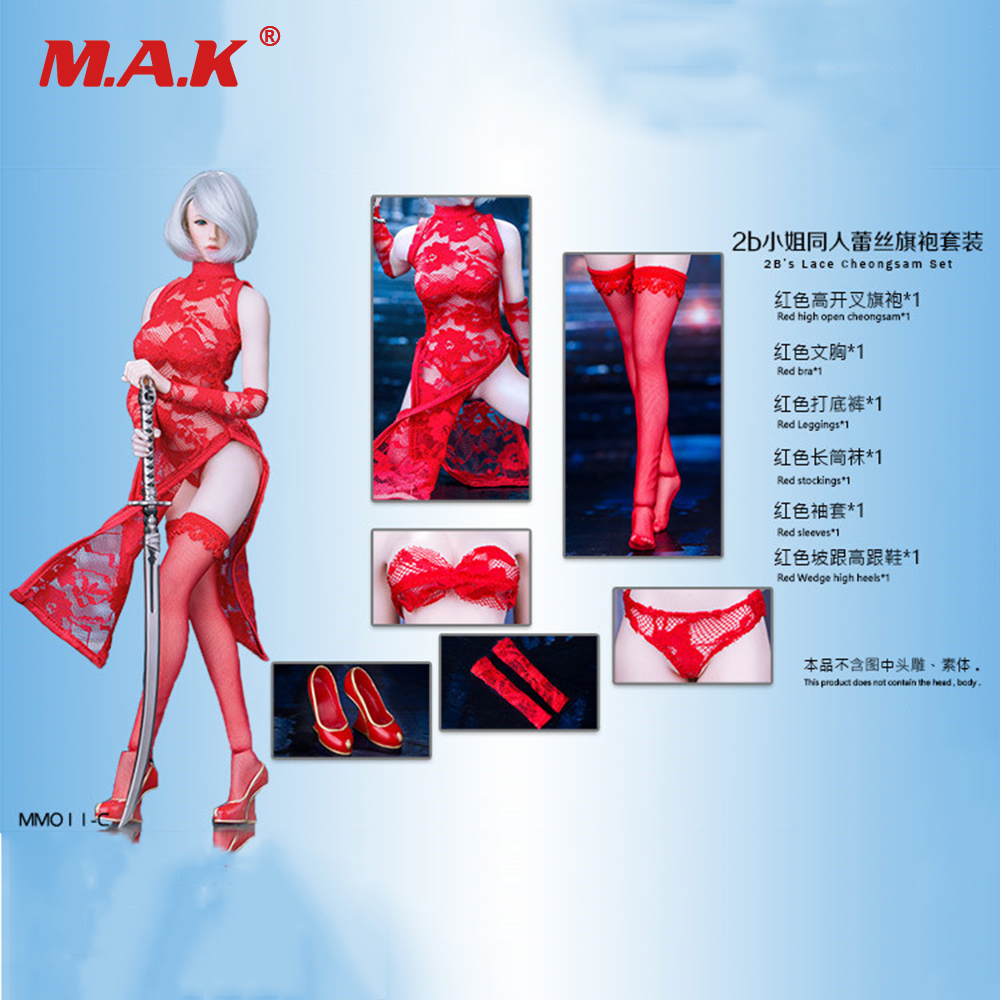 MM011A/C/B 1/6 Scale Sexy Clothing Costume MISS 2B's Black/Red Lace Cheongsam & Stockings & Shoes Set for 12'' Action Figure цена