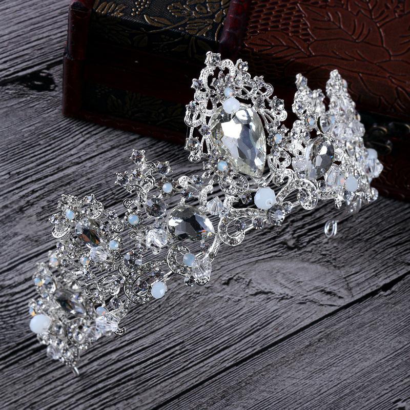 estilo barroco de lujo de novia tocado de la corona cristalina hecha a mano decoracin de